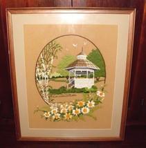 Vintage Framed Wall Art Embroidery Crewel Oak f... - $69.29