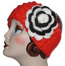 Orange And Black White Zebra Flower Headband Ear Warmer Cheer Team Head Band Ski - $33.00