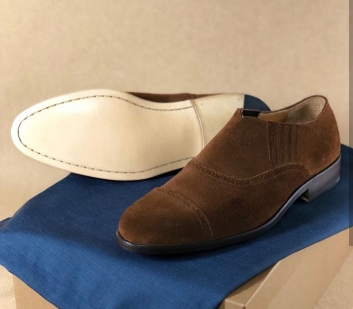Genuine Brown Suede Leather Handcrafted Mocassin Loafer Slip Ons Men Shoes
