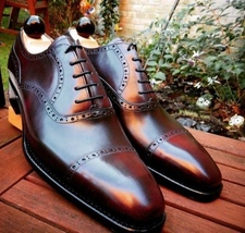 Handmade Men's Chocolate Brown Leather Dress/Formal Oxford Shoes image 3
