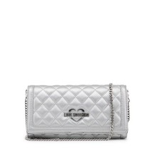 Love Moschino Womens Silver Quilted Clutch - $107.79
