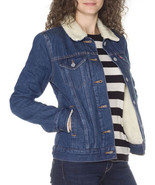 NEW LEVI'S WOMEN'S SHERPA TRUCKER JACKET RINSE BLUE #0002 ALL SIZES FREE... - $58.99