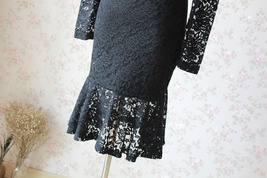 Women's Retro Floral Lace Long Sleeve Fitted Midi Cocktail Party Dress NWT image 6