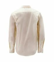 Men's Classic Button Up Long Sleeve Cream Color Slim Fit Dress Shirt - Medium image 2