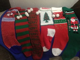 """Lot Of 6 Vintage """"Ugly"""" Christmas Stockings Knit Sweater Material For Pa... - $14.95"""