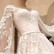 Gorgeous Designer Customized Appliqued A-Line Long Sleeve Vintage Wedding Dress image 5