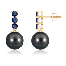 Cultured Tahitian Black Pearl and Sapphire Earrings 14k Yellow Gold - $480.25+