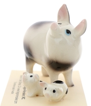 Hagen-Renaker Miniature Ceramic Pig Figurine Spotted Papa Pig and Piglets