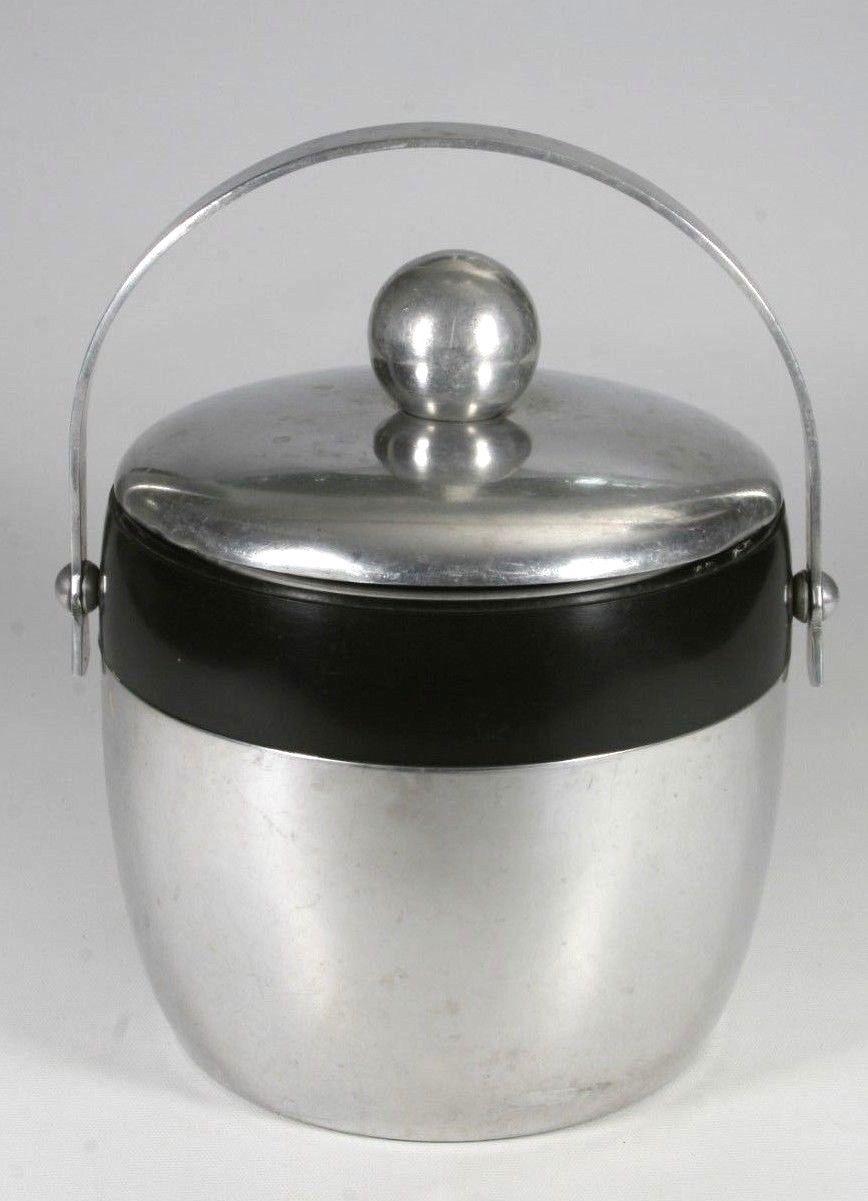 Vintage Mid Century 1950-60 Kromex Stainless Steel & Black Ice Bucket With Lid