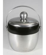 Vintage Mid Century 1950-60 Kromex Stainless Steel & Black Ice Bucket Wi... - $29.14