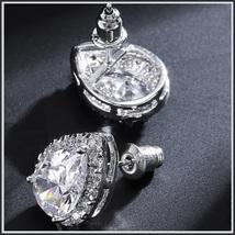 Platium Plated Sparkling Austrian Crystal and Rhinestone Water Drop Stud Earring image 2