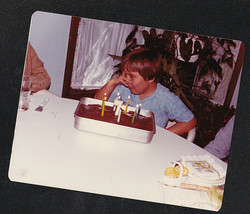 Vintage Photograph Little Boy Covering Face By Lite Candles on Birthday ... - $6.93