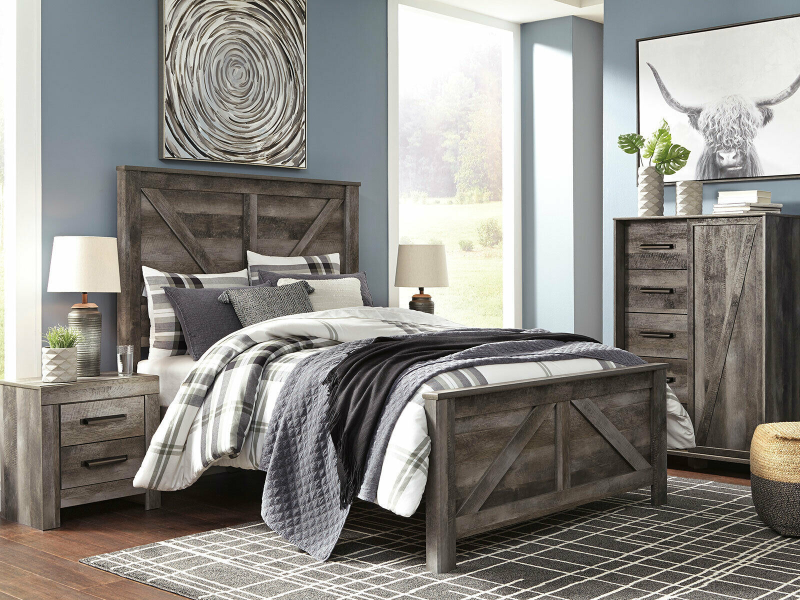 medina 5 pieces cottage modern gray finish bedroom suite w