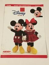 "Disney Home Mickey and Minnie Dolls Crochet Patterns Leisure Arts HTF 18"" Tall - $22.49"