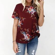 Plus Size 2018 Women ZANZEA Summer O Neck Short Sleeve Loose Boho Floral Print B - $47.20