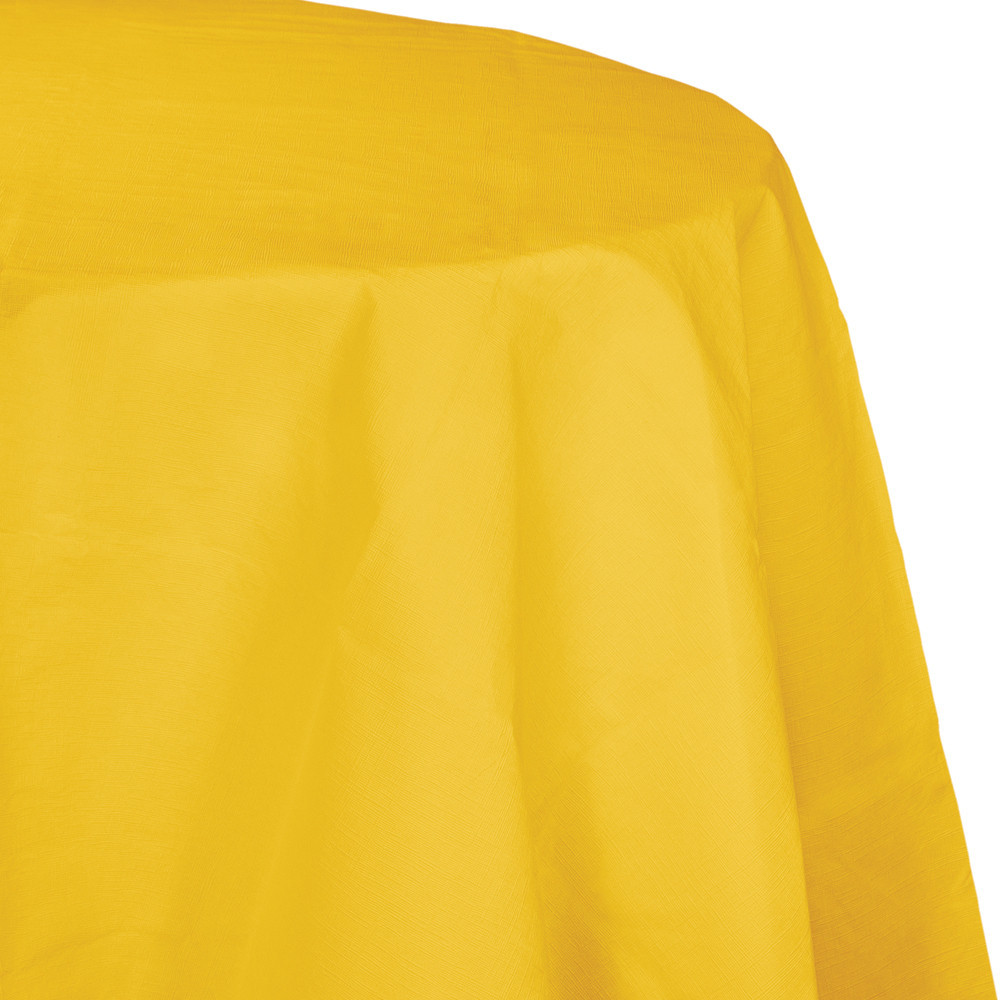 82 inch Octy Round Tissue/Poly Tablecover School Bus Yellow/Case of 12