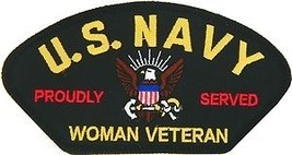 "NAVY WOMAN VETERAN PROUDLY SERVED EMBROIDERED MILITARY LOGO 5""  PATCH - $23.74"