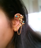 Gold Floral Branch Ear Cuff Gold Sparrow Ear Cuff Swarovski Crystals Boh... - $63.00
