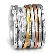 Wide Band Solid 925 Sterling Silver Spinner Ring 3 Tone Golden Spinning ... - $26.48