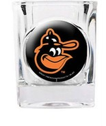 BALTIMORE ORIOLES 2 OZ. SQUARE SHOT GLASS DOMED TEAM LOGO MLB BASEBALL - $10.36