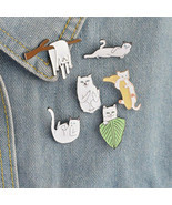 6pcs/set Lovely White Cat Branches Banana Brooch Pins Cartoon Animal Kitten - ₹416.55 INR