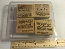 "Stampin Up 2005 ""Lexicon Of Love"" Set Of 4 Wood Block Rubber Mounted Stamps - $9.45"