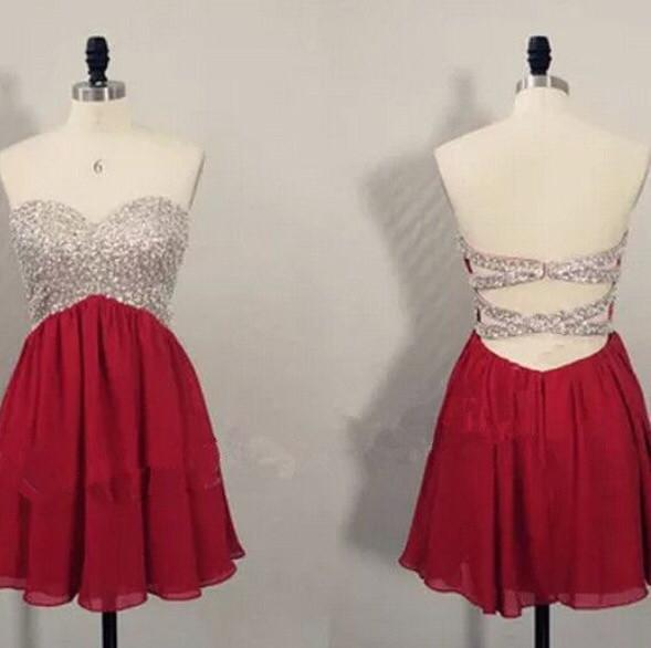 Red Homecoming dresses,Short prom Dresses,Backless Prom Dresses