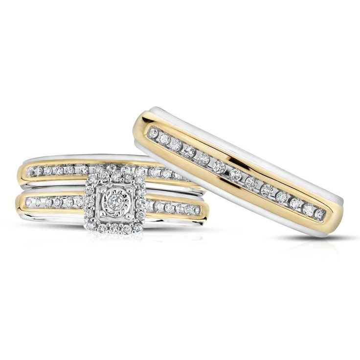 Primary image for Round Cut Diamond Trio Wedding Ring Set 925 Silver 14k Two Tone Plated