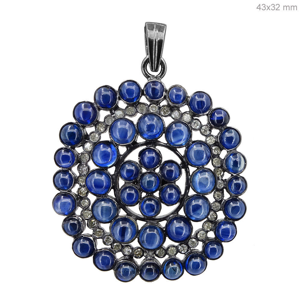 Primary image for Blue Sapphire Gemstone Natural Diamond Pave Pendant 925 Sterling Silver Jewelry