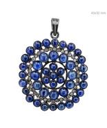 Blue Sapphire Gemstone Natural Diamond Pave Pendant 925 Sterling Silver ... - $466.57