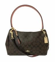 NWT COACH Small Mia Shoulder Bag Crossbody Canvas Logo Brown Pink Gold 7... - $166.32