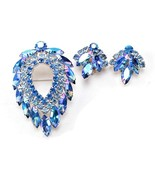 D & E for Sarah Coventry Blue Lagoon Brooch & Earrings Navette Aurora Rh... - $74.30