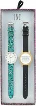 I.N.C. Women's Blue Glitter Black Faux Leather Interchangeable Strap Watch 36mm image 2