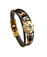 Fashionable Bronze Alloy Buckles Zodiac Signs Bracelet Punk Leather Brac... - $16.23