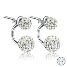 925 Sterling Silver Shamballa earring CZ Cubic Zirconium clear crystal DLE87 image 1