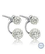 925 Sterling Silver Shamballa earring CZ Cubic Zirconium clear crystal D... - $15.99