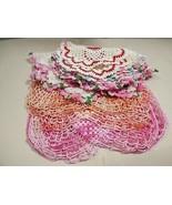 VTG lot of 8 Table Doily Lace Center Mat Dresser hand crochet White Pink... - $31.68