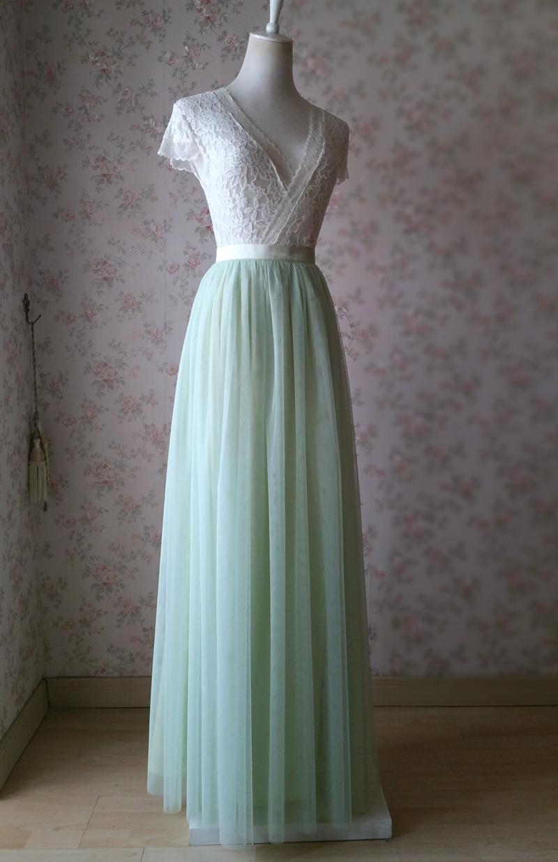 Light green tulle skirt 3