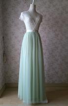 LIGHT GREEN Full Length Maxi Tulle Skirt Green Wedding Bridesmaid Tulle Skirts image 3