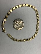 "Real Genuine 14K Solid Yellow Gold 7"" Heart Link Bracelet 4.2G image 2"