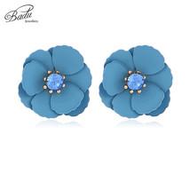 Red Flower Earrings for Women Korean Style Crystals Small Floral Earrings Elegan - $8.22