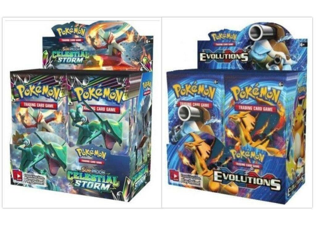 Pokemon TCG Sun & Moon Celestial Storm + Evolutions Booster Box Bundle