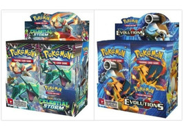 Pokemon TCG Sun & Moon Celestial Storm + Evolutions Booster Box Bundle - $214.99