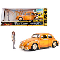 Volkswagen Beetle Weathered Yellow with Robot on Chassis and Charlie Diecast Fig - $36.27