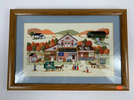 Vintage Needlepoint Cross Stitch Framed Country Farm Village Decor Horses  - $41.73
