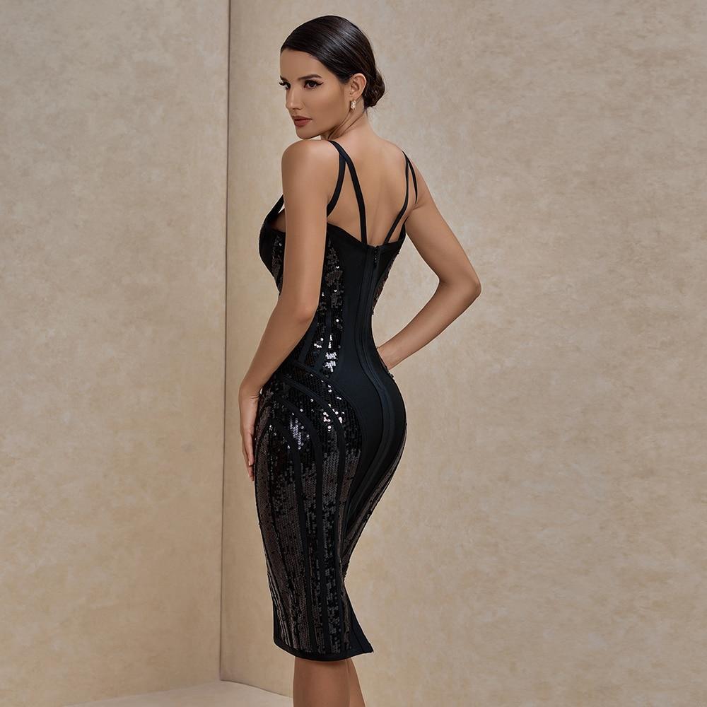 Ade sequined bandage dress 2020 new women sexy deep v neck black bandage dress bodycon spaghetti