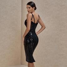 Sexy Deep v Neck Black Bandage Dress Bodycon Spaghetti Strap Club Party Dress