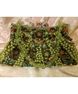 NWT Boho Style Beaded Purse - Green and Red Beaded Formal Clutch Purse b... - $23.00