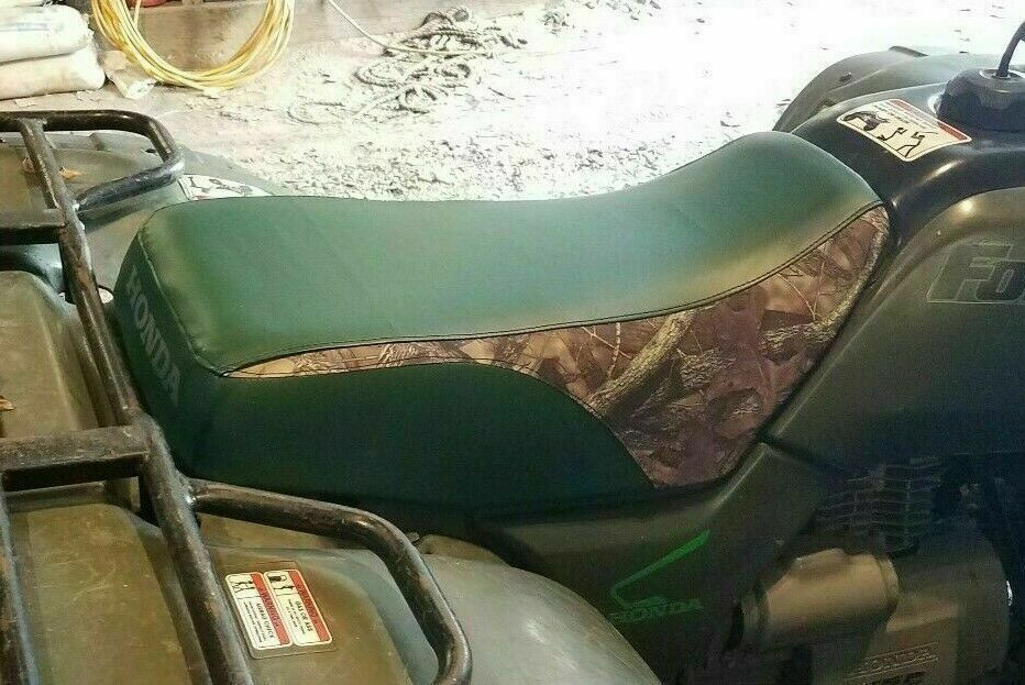 Primary image for HONDA TRX450 FOREMAN  Seat Cover 1998-2004  GREEN w/ BARE TIMBER inserts (ST)