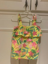 Carter's 3T girl's yellow sleeveless top w/straps & pink flamingos and flowers - $7.82